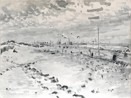 Stille Strand Den Haag, sumi-inkt , 18 x 24 cm, 6/2020, encre sumi, Plage La Haye