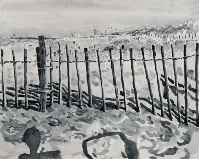 Strandslag 8, Den Haag, sumi-inkt , 24 x 30 cm, 9/2020, encre sumi, Plage La Haye